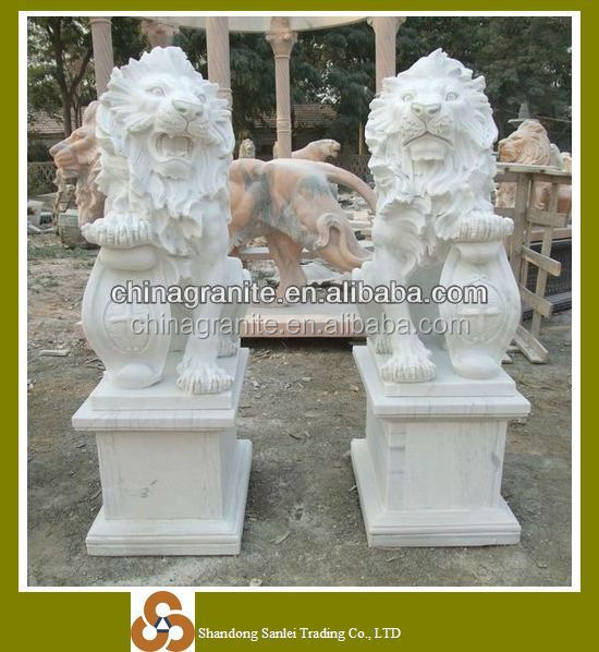 Garden decor naturla stone carving white marble foo dog statues sale