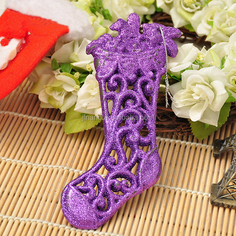 Home decoration colorful hollow shoe pendant small christmas ornaments