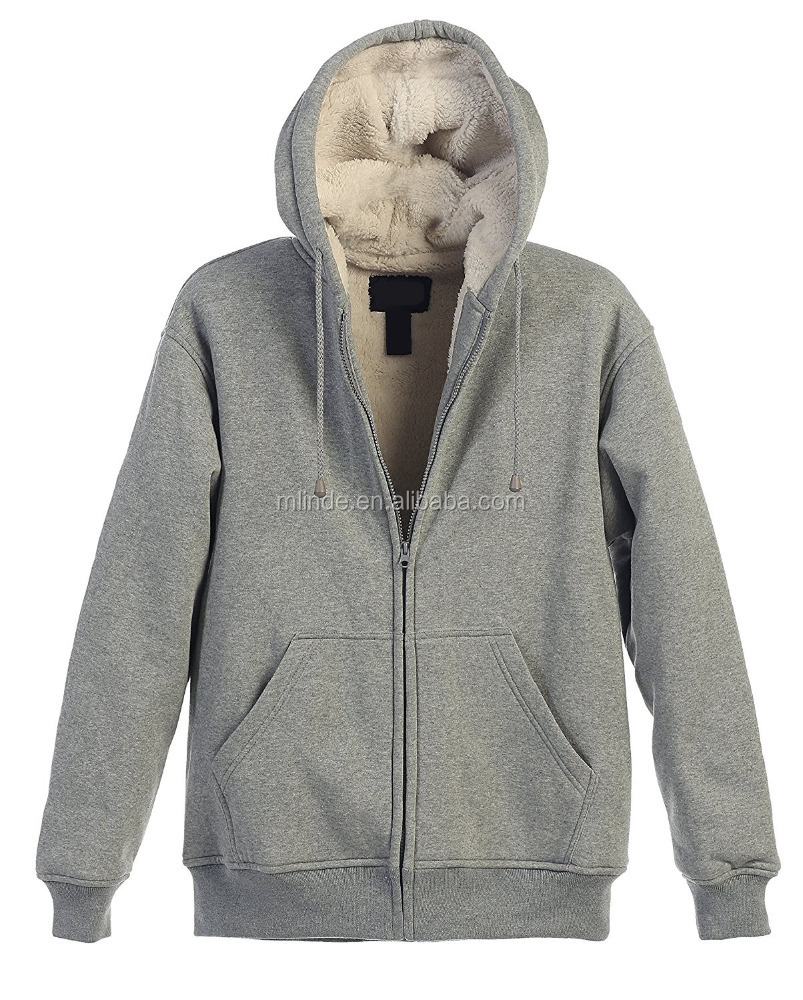 Mens 100% Polyester Lined Full Zip Hoodie Extra Soft Premium Sherpa Fleece Jacket With Draw String and 2 Front Pockets Jackets