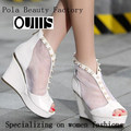 White leatest fashion high quality leather dress shoes newest wedge heel women with pearl CP5862