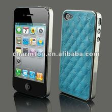 Luxury Leather Chrome Case for iPhone 4
