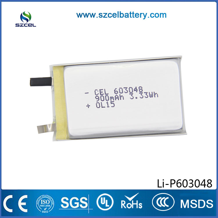 ShenZhen CEL new technology rectangular high Capacity 3.7V 850mah rechargeable lithium ion battery 603048 with wires