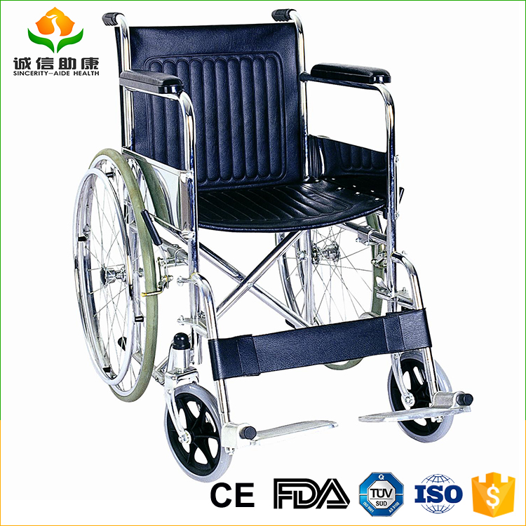 Lightweight chromed steel frame fixed armrest and detachable footrest Solid castor and rear wheelchair wheel with ISO approved