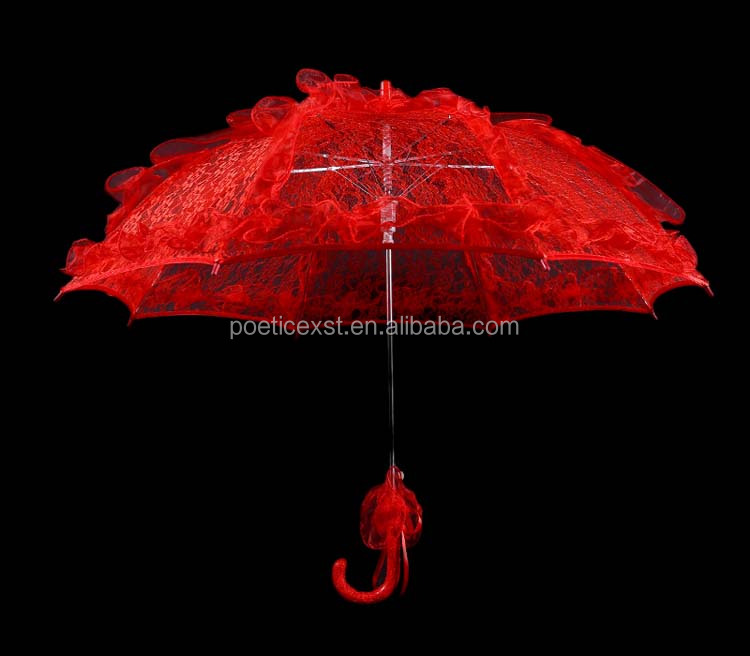 Event & party supplies Adult size long-straight plain red lace parasols fashion sun umbrellas