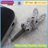 2014 Fashion jewelry! Rhinestone CZ stones rabbit phone dust plug cell phone accesories#S03