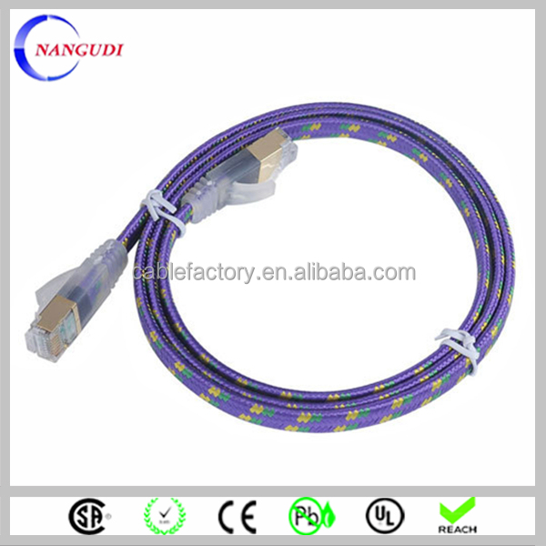 China make long textile cotton braided ethernet cable