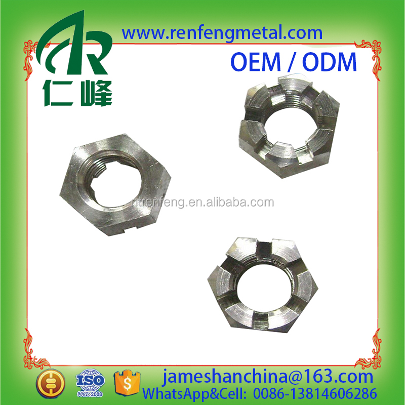 Hex slotted nut hex nut with groove self-locking nut zinc plated