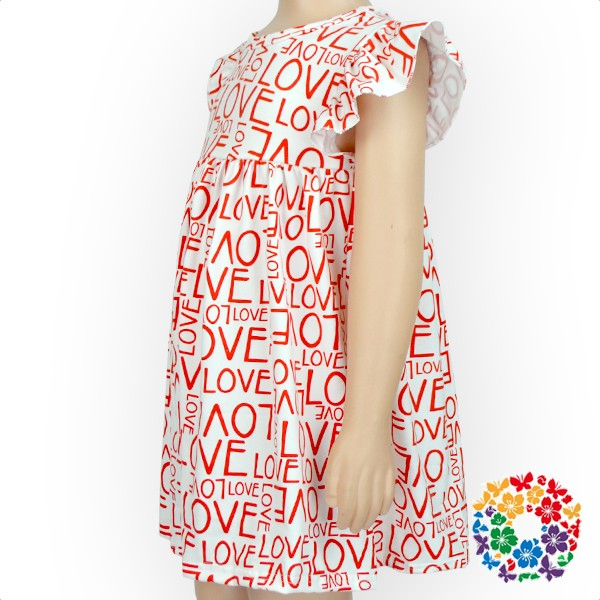 LOVE Print Valentines Day Dresses Puffy Shoulder Fashion Dress 0-6 Years Old Girls Vintage Dress