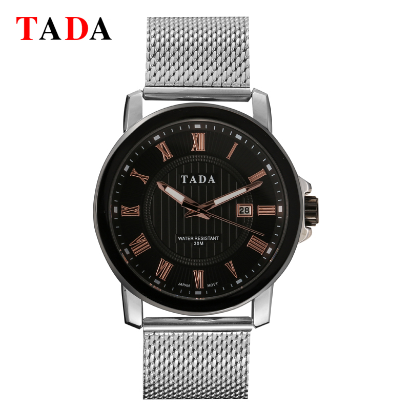 Branded TADA T6002 <strong>Date</strong> Displaying Stainless Steel Watches Men Fashion 3ATM Waterproof Men's Military Army Quartz Watches
