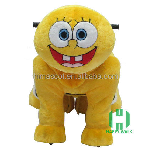 HI CE Sponge bob Electric ride on horse,walking animal car scooter ride on toy with wheel