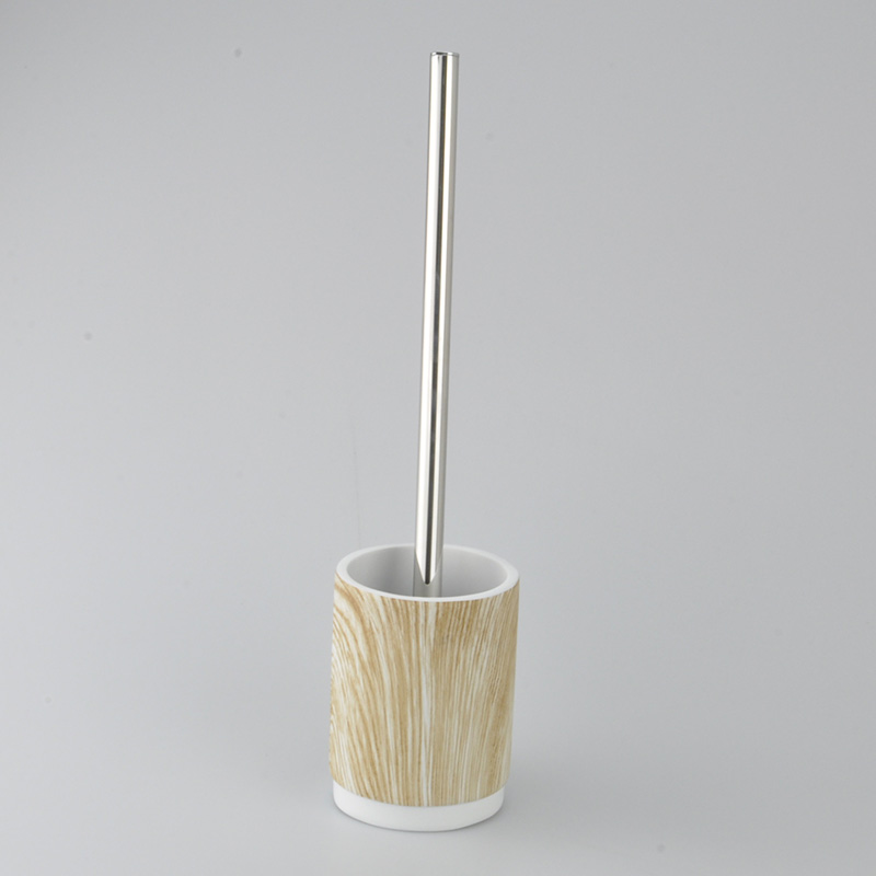 Wood Pattern Polyresin Round Cylinder Shaped Brush Holder