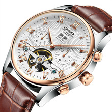 Multi Functions Automatic Mechanical Watch 50m Waterproof Stainless Steel Skeleton Wrist Watches for Men