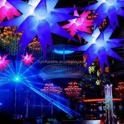 2016 hot sale inflatable lighting LED stars party decoration hanging star light cone