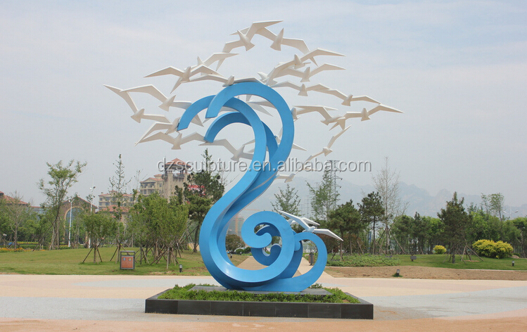 Stainless steel sculpture garden decoration metal bird