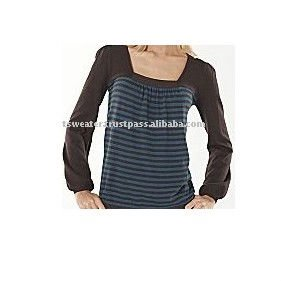 Women 100% Cotton Stripe Knitted Fashion Sweater