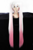Hot sale heat resistant fiber 120cm Miku pink ombre long curly hair cosplay wig with ponytail