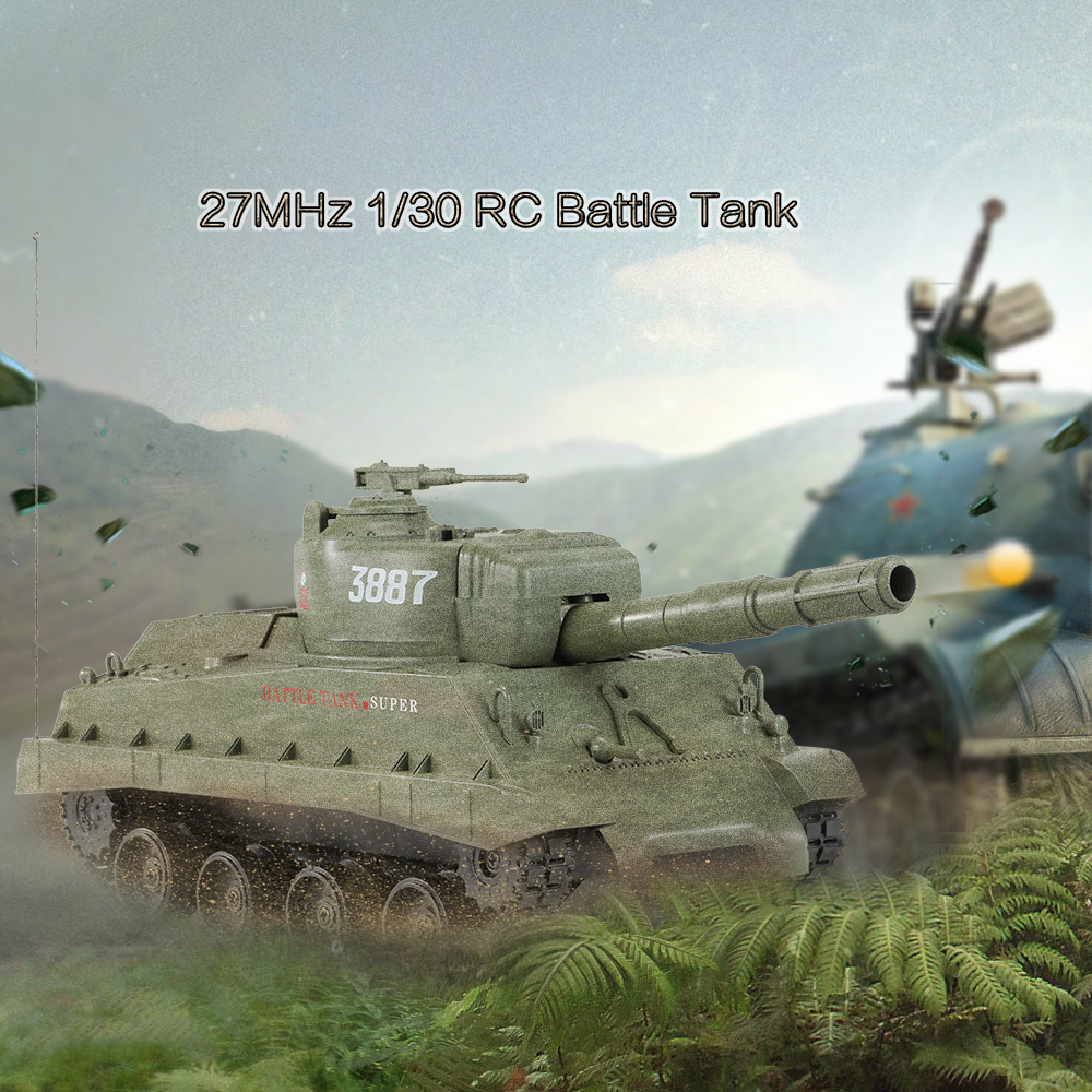 0343887-27MHz 1/30 Fire Ball Bullet Cannonball Shooting RC Battle Tank
