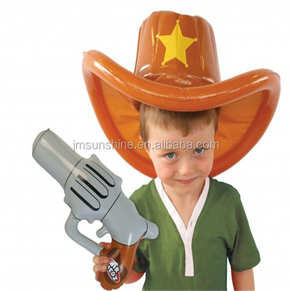 products 2014 kid toys/education toy inflatabel cowboy hat and gun