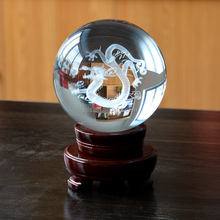 3D Laser Engraving Crystal Ball with Dragon or Custom Logo