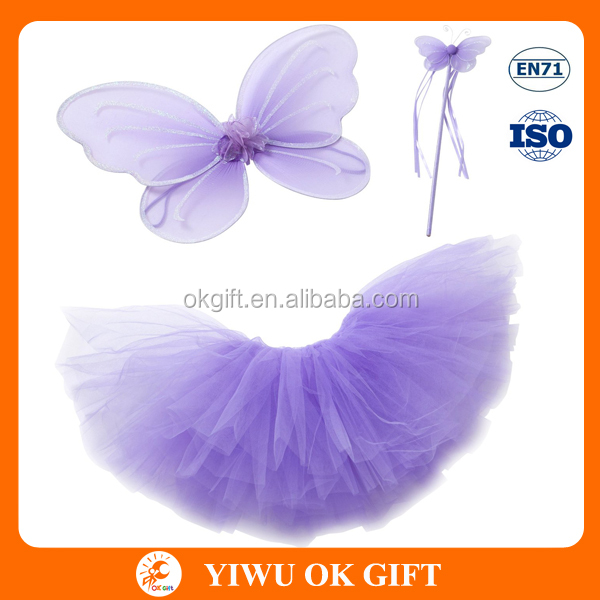 Princess Girls Fairy Costume Tutu Wing Wand Set For Girls Dress Up