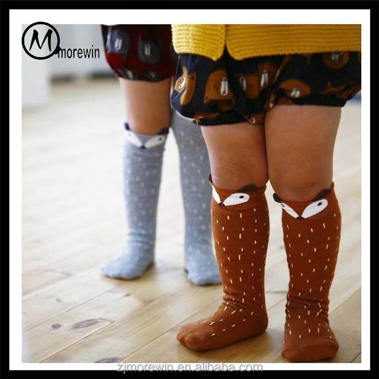 Morewin Brand baby toddler knee high non slip socks Animal Baby Stockings