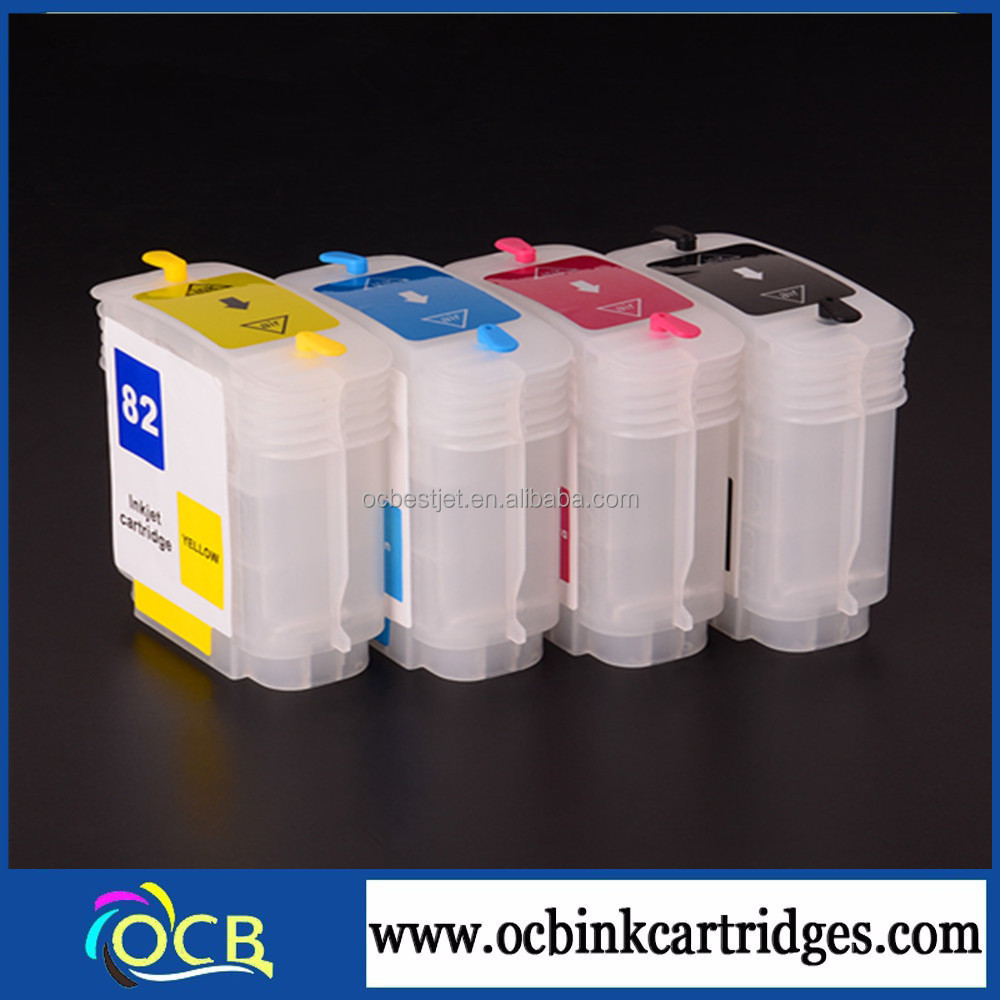 China supplier 69ml for HP 10 82 empty plastic ink cartridge for HP Designjet 500 510 800 printer