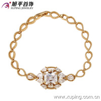 73263Hot sell design Xuping Jewellery 18k Gold Colour Charm Bracelet With High Quality Glass Indian Jewellery