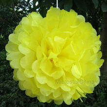 Yellow Tissue Paper Wedding Party Decoration Flower Ball