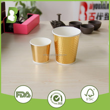 4oz 8oz low price wholesale disposable double wall golden paper cups