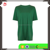 High Quality Long Lined Girls Solid Cool Tee Shirts with Ribbed Crew Neck