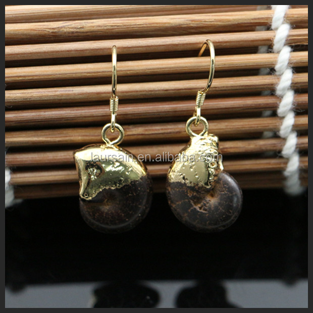 LS-D419 NEW STYLE!! Natural gemstone fossil earring