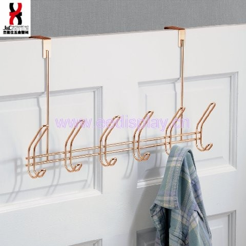 Rose Gold Over Door Rack With 12 Hooks for Jackets, Coats, Hats, Scarves, Purses
