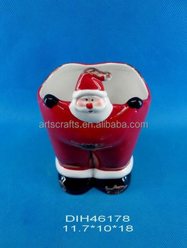 Funny santa claus ceramic candy holder
