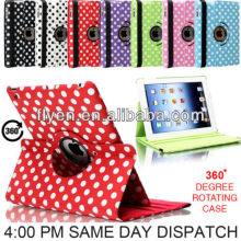 roating leather case for ipad air 5,Stand For iPad air Case,for ipad 5 Polka Dot case