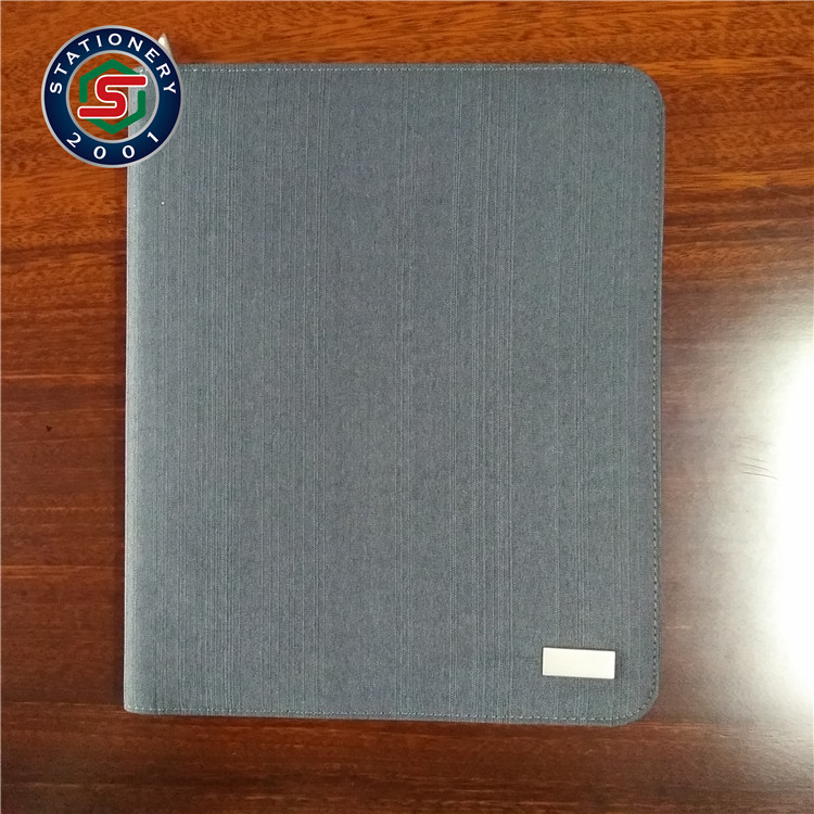 zipper portfolio notebook with silicone ipad holder and power bank USB