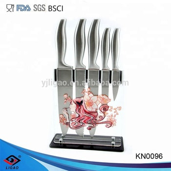 hollow handle 5pcs kitchen knife with utility knife blade and carving knife set