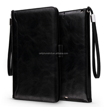 Kickstand Leather Smart Stand Business Cover Case with Card Slots Document Pocket Pencil Holder Elastic Hand Strap for iPad