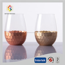 Hand Made Gold And Copper Stemless Wine Glasses