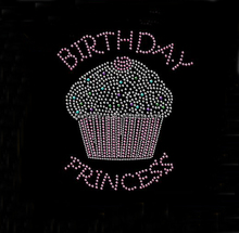 Hotfix Rhinestone Birthday Princess With Cupcake Motif Transfers