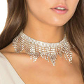 Silver color clear crystal tassel choker for girls