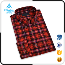 Low price international branded mens casual cotton shirts with Long Sleeve Flannel Check