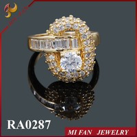 Copper Fashion Ring Wholesale Ladies Imitation Diamond Ring
