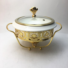 New design small 12.5inch Kitchen Ceramic Chafing Dish gold