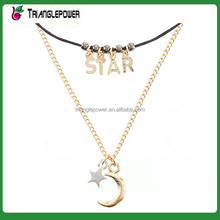 Latest design metal moon and star choker necklace