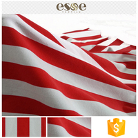 Custom clothing textile red white striped cotton fabric