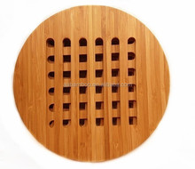 Round and Durable 3pcs Bamboo Trivet for Kitchenware with Lacquer Finish
