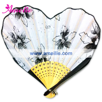 AF1423 Popular white and black heart hand fan