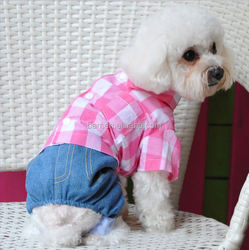120214 pink /green refreshing new style pet clothes grid jeans suit dog union suit