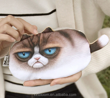 2017 zhe jiang yiwu cartoon <strong>animal</strong> style 3D tail cat kids plush zipper small change money bag