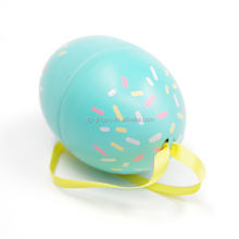 Factory price candies chocolate metal oval egg tin box with ribbon